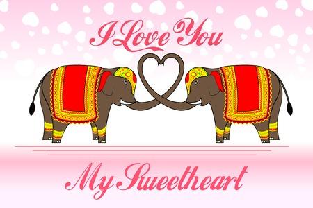 vector illustration of cute elephants forming heart shape illustration