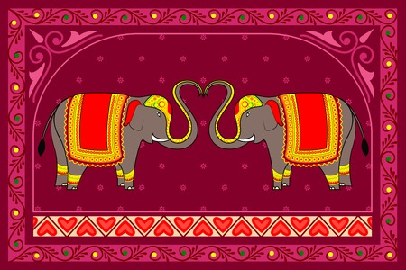 royal wedding: vector illustration of decorated elephant