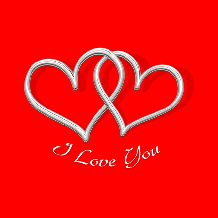 enamoured: vector illustration of pair of heart on love background