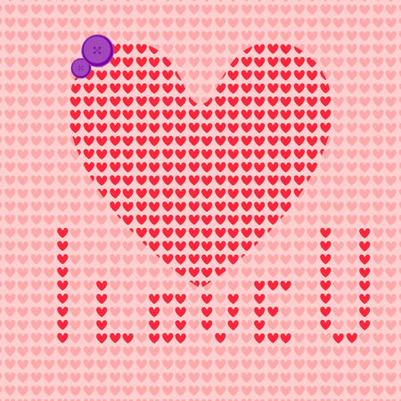 i love you: vector illustration of Happy Valentines Day hearts