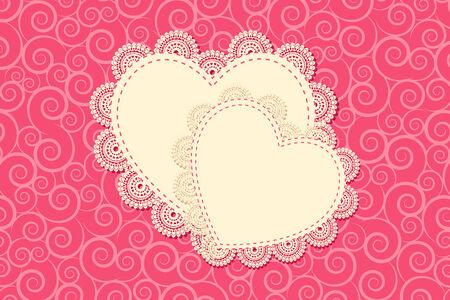 vector illustration of heart shape frame with lace work illustration