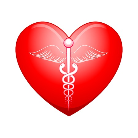 vector illustration of medical symbol on heart illustration