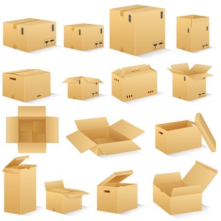 vector illustratie van verschillende vorm kartonnen doos Stock Illustratie