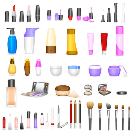 personal care: vector illustration of set of make up cosmetics