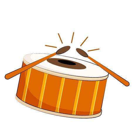 snare: vector illustration of musical drum on isolated background