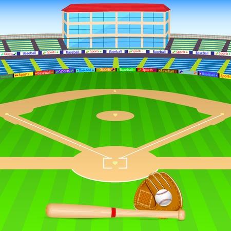 speelveld gras: vector illustratie van honkbal veld met knuppel, bal en handschoen Stock Illustratie