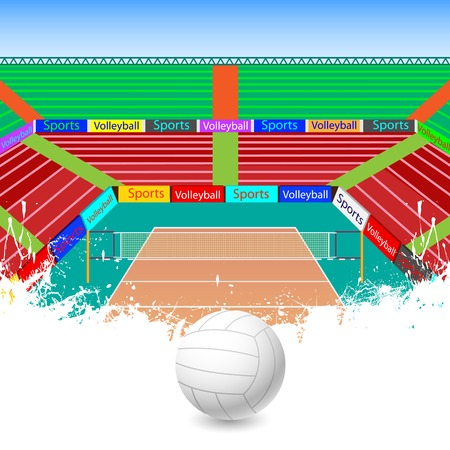 vector illustration of volleyball ground with ball