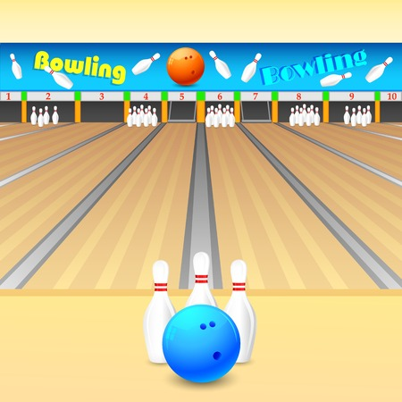 kegelen: vector illustratie van de kegel en bowling bal op houten vloer