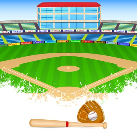 outfield: vector illustration of baseball field with bat, ball and gloves