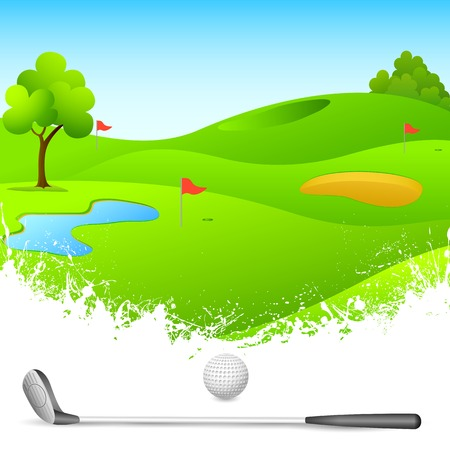 vector illustration of golf course with stick and ball
