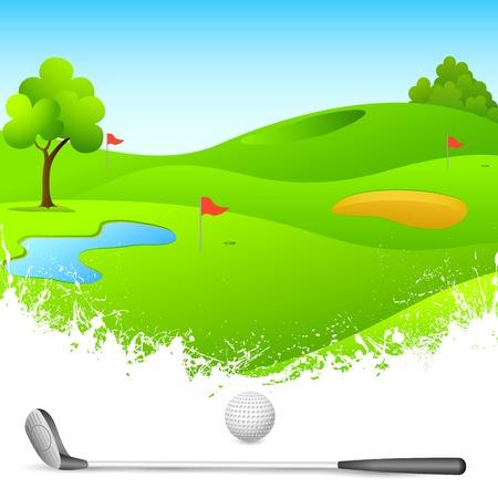 golf stick: ilustraci�n vectorial de un campo de golf con el palo y la bola