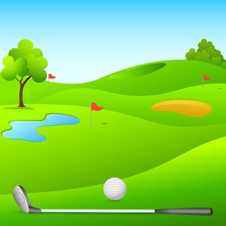 Illustrazione vettoriale di campo da golf con bastone e palla Archivio Fotografico - 27535157