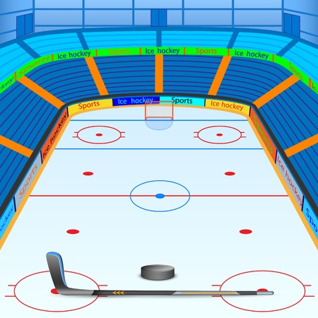 the puck: vector illustration of ice hockey ground with stick and puck