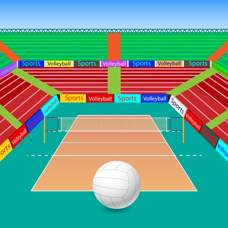 volleyball net: vector illustration of volleyball ground with ball