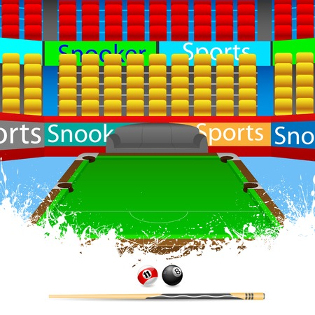 indoor sport: vector illustration of snooker table with balls