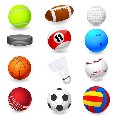 pelota rugby: ilustración vectorial de la recogida de diferentes objetos deportes