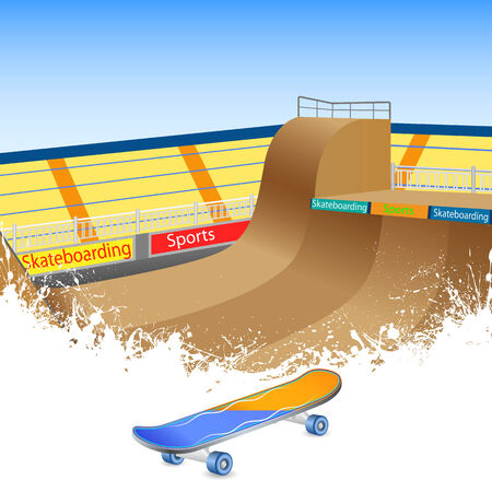 skatepark: vector illustration of skate boarding ground with board