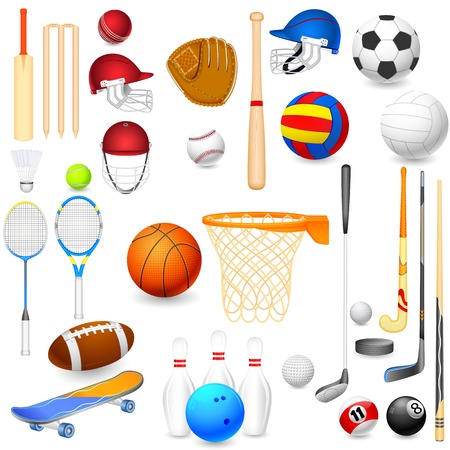 cricket sport: vector illustration of collection of different sports object