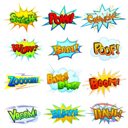 smash: vector illustration of collection of comic book explosion