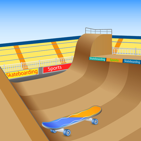 skates: vector illustration of skate boarding ground with board