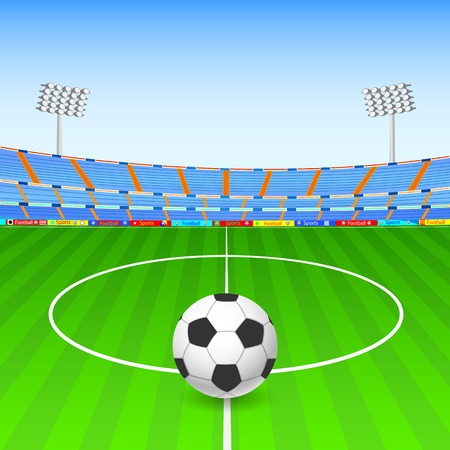 ball field: illustration of Soccer ball on stadium