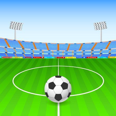 campeonato de futbol: ilustraci�n de la pelota de f�tbol en el estadio