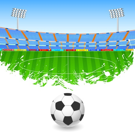 football stadium: illustration of Soccer ball on stadium