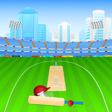 cricket: illustration of cricket bat and ball in stadium Illustration