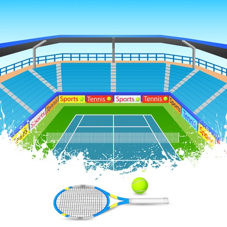 hard court: illustration of tennis racket and ball on tennis court Illustration