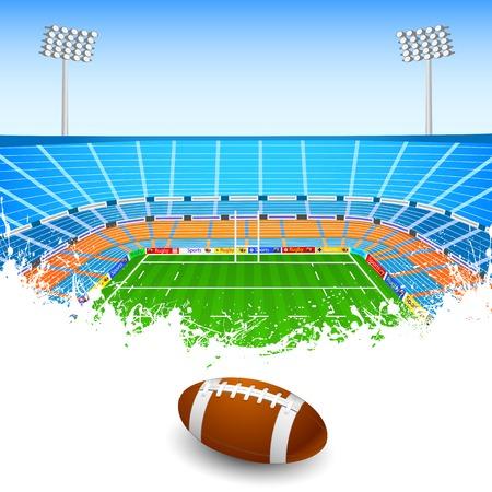 american football stadium: illustration of rugby ball on stadium
