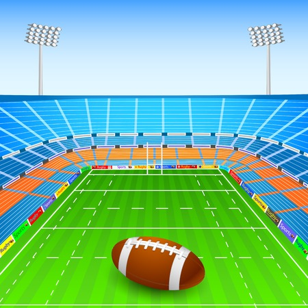 floodlit: illustration of rugby ball on stadium