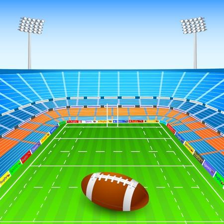 illustration of rugby ball on stadium