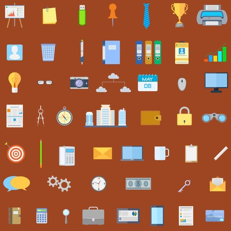 illustration of collection of office icon Vector