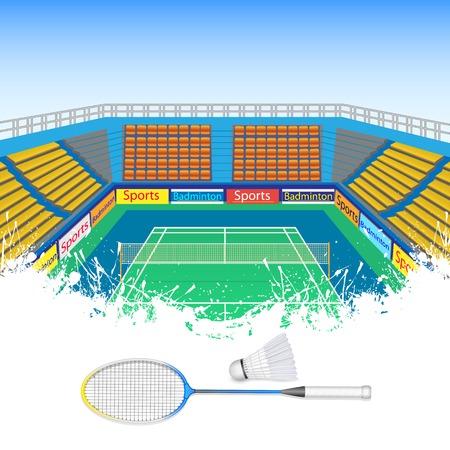 shuttlecock: illustration of badminton racket and shuttlecock in court