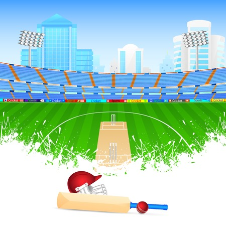illustration of cricket bat and ball in stadium Vector