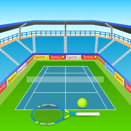 tennis court: illustration of tennis racket and ball on tennis court Illustration