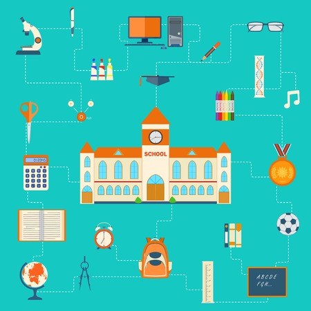 illustration of education pictogram flat color Vector