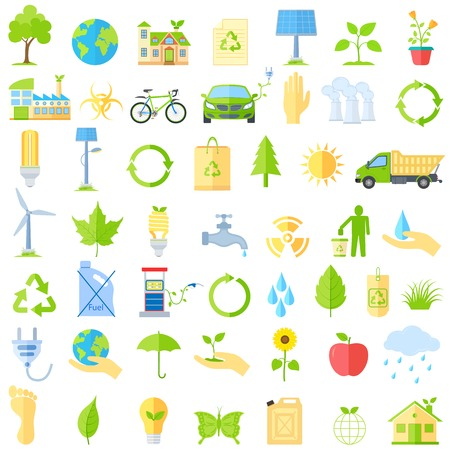 illustration of collection of ecological icons