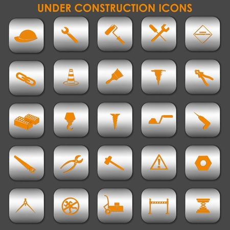 pliers: illustration of collection of under construction icons