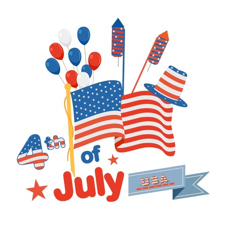 vector illustration of background of Fourth of July American Independence Day
