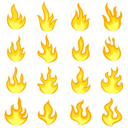 vector illustration of collection of fire flame against isolated background Vector