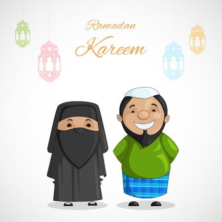 ramadan background: vector illustration of muslim couple on Ramadan Kareem ( Greetings for Ramadan) background Illustration