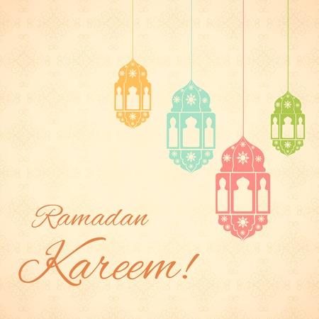 ramzan: ilustraci�n vectorial de la l�mpara iluminada para el Ramad�n Kareem (Saludos de Ramad�n) de fondo