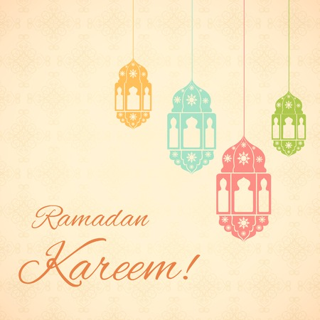 vector illustration of illuminated lamp for Ramadan Kareem ( Greetings for Ramadan) background Vector