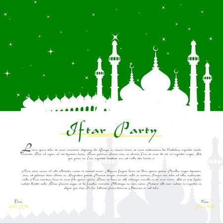 ramzan: vector illustration of Eid Mubarak ( Blessing for Eid) background with Islamic mosque Illustration