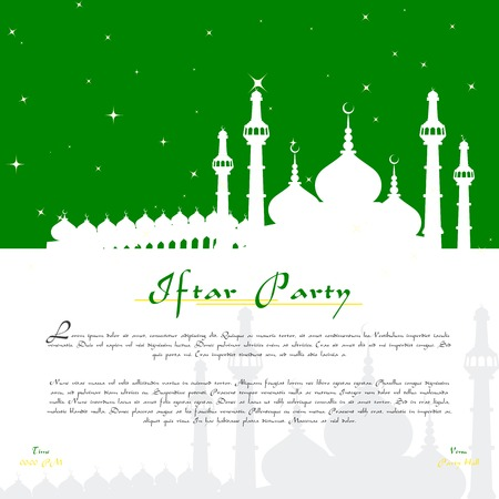 vector illustration of Eid Mubarak ( Blessing for Eid) background with Islamic mosque