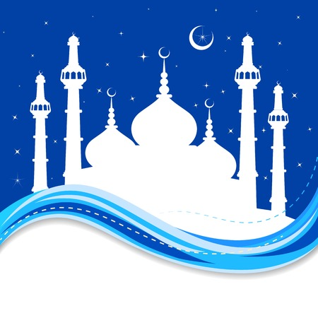 al: vector illustration of Eid Mubarak ( Blessing for Eid) background with Islamic mosque Illustration