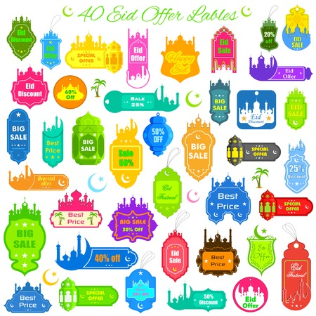 vector illustration of collection of Eid offer label Vector