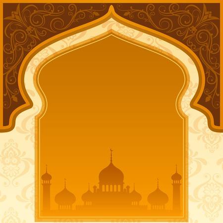 イスラム教のモスクでイード Mubarak (Eid のために祝福) 背景のベクトル イラスト