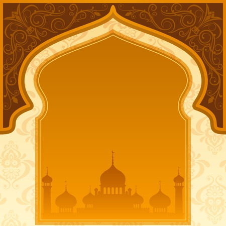 vector illustration of Eid Mubarak ( Blessing for Eid) background with Islamic mosque Vettoriali